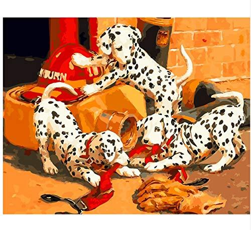 XIGZI Kein Rahmen Gefleckter Hund DIY Digital Malen Nach Zahlen Tiere Moder Acrylfarbe Auf Leinwand Färbung Malen Nach Zahlen 40x50 cm