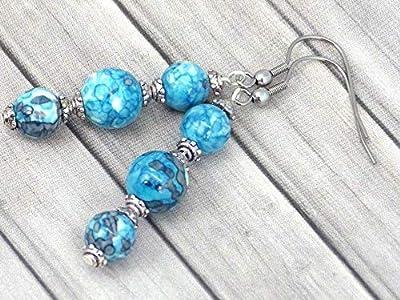 Boucles d'oreilles trio en acier inoxydable et perles de jade blanc teinté en bleu et violet