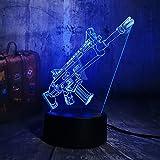 Orangeww 3d Illusion Nachtlicht/Touch Tisch Schreibtischlampe / 7 Farbe Licht für Mädchen/Kinder Tag Geschenk/Kunst und Handwerk/Gewehr LED