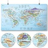 Awesome Maps - Kitesurf Map - Illustrierte Weltkarte für Kitesurfer - Wiederbeschreibbar - 97,5 x 56 cm
