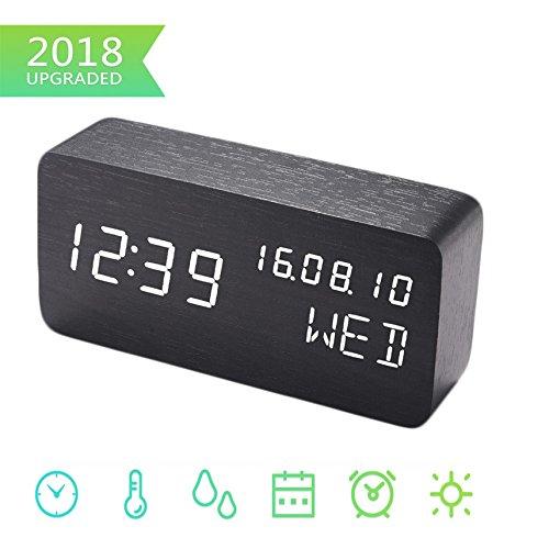 Digital Wecker, Schreibtisch Uhr Holz Digital Uhren mit 3 Alarme 3 Helligkeit Stimme Steuerung LED Anzeige Temperatur Feuchtigkeit, Mini Reise Uhr Hölzern Uhr zum Zuhause Schlafzimmer Büro - Schreibtisch-uhr Mit Temperatur