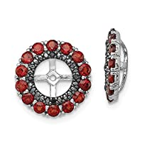 925 Sterling Silver Rhodium plated Garnet and Black Sapphire Earrings Jacket Jewelry Gifts for Women