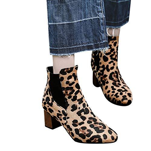 TianWlio Boots Stiefel Schuhe Stiefeletten Frauen Herbst Winter Mode Leopard Bedruckte Schuhe Kurze...