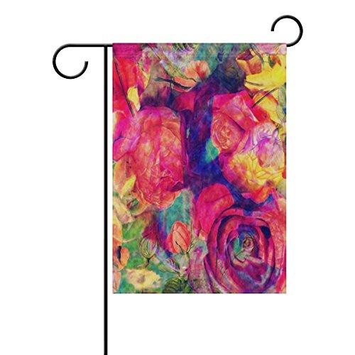 vinlin Garten Flagge Ölgemälde Bouquet of Rose Blumen langlebiges Polyester Welcome Flagge Home Flagge-30,5x 45,7cm 71,1x 101,6cm, Polyester, 28x40(in) -