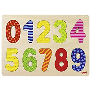 Goki-57574 maderaPuzzles de maderaGOKINúmeros Puzzle 0-9, (4013594575744)
