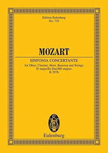Sinfonia concertante Es-Dur: KV 297b / KV Anh. I Nr. 9. Oboe, Klarinette, Horn, Fagott und Streicher. Studienpartitur. (Eulenburg Studienpartituren)