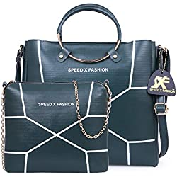 Speed X Fashion Women's Handbags And Shoulder Bag Combo (Green)
