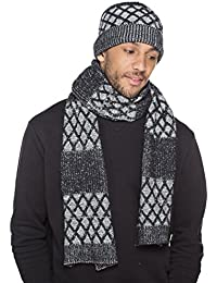 New Mens Trellis Knitted Beanie Hat & Long Scarf Winter Thermal Fashion Set