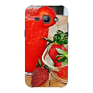 Delighted Straberry Juice Multicolor Back Case Cover for Galaxy J1