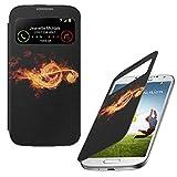 Feu 10013, Note de Musique, Design S-View Étui Coque Smart Back Case Housse en PU Cuir Noir avec Dessin Coloré et Fenêtre pour Samsung Galaxy S4 Mini i9190.