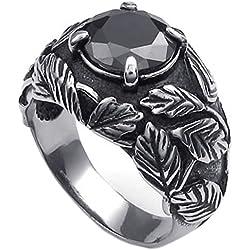 KONOV Joyería Anillo de hombre, Retro Vintage, Acero inoxidable, Color negro plata - Talla 17 (con bolsa de regalo)