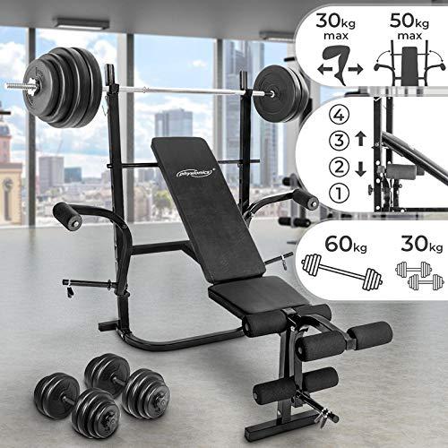 Physionics Hantelbank mit Gewichten | 60kg Lang- / 30kg Kurzhanteln Set, Klappbar & 4-Fach Verstellbar, Butterfly + Beinstrecker und Beinbeuger | Schrägbank, Trainingsbank