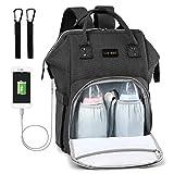Baby Wickelrucksack Wickeltasche Multifunktional mit USB-Lade Port Oxford Wasserdichte Große Kapazität Babytasche für Reise,Schwarz