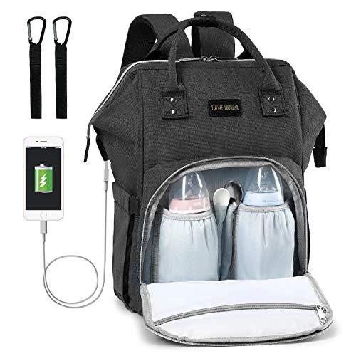 Baby Wickelrucksack Wickeltasche Multifunktional mit USB-Lade Port Oxford Wasserdichte Große Kapazität Babytasche für Reise,Schwarz (Unisex-baby-windel-tasche)