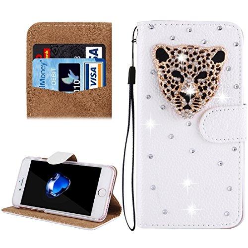 Hülle für iPhone 7 plus , Schutzhülle Für iPhone 7 Plus, Diamond verkrustet drei Schmetterlinge Pattern Horizontale Flip Leder Tasche mit magnetischen Wölbung & Card Slots & Handschlaufe ,hülle für iP Ip7p4910h