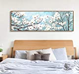 YYT123 Print on Canvas Interior Art Canvas Painting Modern Home Decoration Bedroom Canvas Painting Poster Fresh White Flower Canvas Print Art, 20X60Cm No Frame,Painting