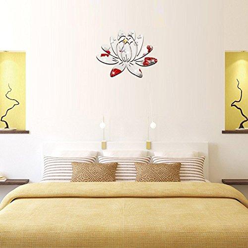 Adesivi da parete fiore di loto argento 3d specchio effetto stickers murali ,decorativo rimovibile di plastica parete decalcomanie doppia faccia fai da te adesivo murales adesivi murali per soggiorno, camera da letto, casa e ufficio