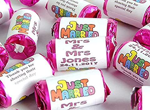 5x Personalised Mini Love Hearts Wedding Favours Sweets gift party just married wedding favor for guests favour kids glasses ideas boxes bags bubbles sweets favor box favors guest bag tags candle jars stickers gifts personalized Sweet Anniversary