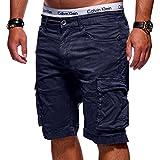 MT Styles Herren Cargo-Shorts Bermuda Kurze Hose Chino X-6717 [Dunkelblau, W36]