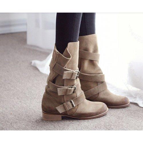 Bottes femme COWBOY, boots cuir daim, bottes femme cuir veritable, bottes moto, bottines tendance Beige