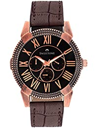Swisstone Black Dial Brown Strap Analog Watch For Men/Boys- SW-GR024-BLK-CR