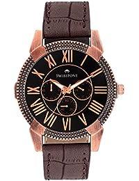 Swisstone Black Dial Brown Strap Analog Watch For Men/Boys- SW-GR024-BLK-CR