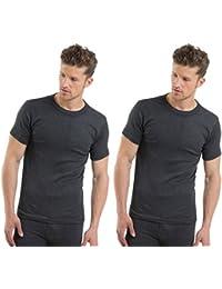 2COZEE® 2 Pack Mens/Gentlemens Thermal Underwear Short Sleeve Vest Interlock 8 X 1 Various Colours & Sizes