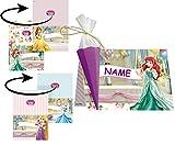 Bastelset für 6 Tischkarten / Platzkarten - Disney Princess Prinzessin - für Schulanfang Geburtstag Party Schuleinführung Schulbeginn Platzkärtchen - Mädchen Arielle Rapunzel Prinzessinnen Kindergeburtstag