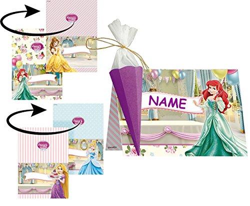 Preisvergleich Produktbild Bastelset für 6 Tischkarten / Platzkarten - Disney Princess Prinzessin - für Schulanfang Geburtstag Party Schuleinführung Schulbeginn Platzkärtchen - Mädchen Arielle Rapunzel Prinzessinnen Kindergeburtstag