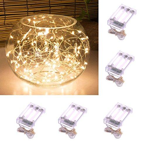 Verbessertes Design mit Timer Set von 5 Micro LED 20 Warmweiß leuchtet Batteriebetrieben auf 7ft lang Silberdraht Farbe Ultra Thin String Wire, 6 Stunden auf / 18 Stunden aus