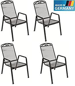 en m tal 4 x chaise empilable traunstein snail fabriqu en allemagne certifi t v gs et. Black Bedroom Furniture Sets. Home Design Ideas
