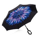 Parapluie Inversé,Parapluies pliants Double Couche Coupe-Vent et UV,Mains Libres poignée en forme C, Parapluie Canne Multicolore pour hommes et femmes?Rouge?