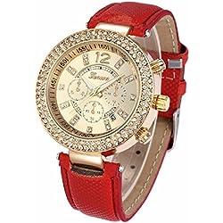 Geneva Platinum Date Display Gold Dial Women's Timepiece - GP-249
