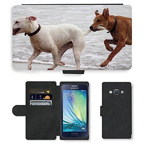 Just Phone Cases PU LEDER LEATHER FLIP CASE COVER HÜLLE ETUI TASCHE SCHALE // M00421764 Hunde Stöckchen zu spielen Beißen Romp // Samsung Galaxy A3 SM-A300 (not fit S3)
