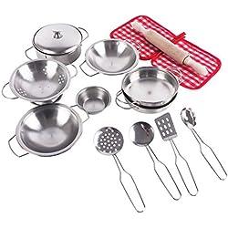 Juguetes de pretender - Cocinero de acero inoxidable, juguetes de simulación de cocina de acero inoxidable con ollas y sartenes de acero inoxidable, Cocina de juguetes para niños(15 piezas)