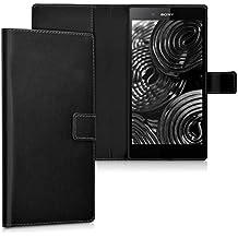 kwmobile Elegante funda de cuero sintético para el Sony Xperia Z Ultra con cierre magnético y función de soporte en negro