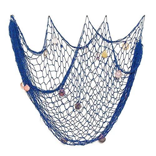 Fish Net con Caracoles Estilo mediterráneo para Sirena Piratas Fiesta temática Foto Colgante de Pared Decoración Jardín en casa Barras Decoración por TheBigThumb, Azul