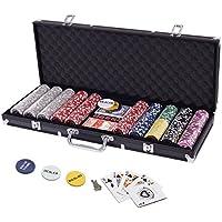 Display4top Pokerkoffer 500 Chips Laser Pokerchips Poker 12 Gramm, 2 Karten, Händler, Small Blind, Big Blind Tasten und 5 Würfel, Schwarz mit Aluminium-Gehäuse