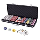 Display4top 500 Piece Texas Holdem Poker Chips Set with Aluminum Case , 2 Decks of Cards, Dealer, Small Blind, Big Blind Buttons and 5 Dice (500 Piece Chips)