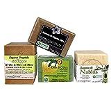 Kit Suave - 4 jabones artesanales 100% naturales - Jabón de Alepo al 16%, Jabón de Nablus, Jabón de Aceite de Oliva y Nigella - Los jabones más preciados del mundo!