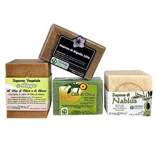 Kit Délicat 4 Savons - Pack économique - Contient : Savon d'Alep 16%, Savon de Naplouse, Savon à l'huile d'Olive, Savon à la Nigelle - 100% Naturel et Artisanal