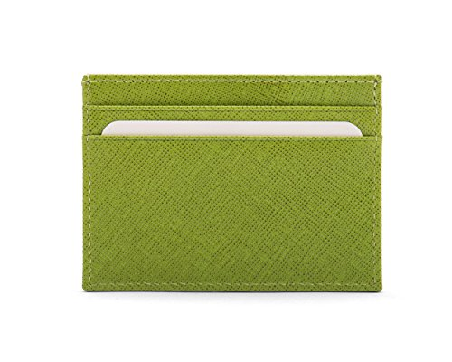 SageBrown Lime Green Saffiano Flat Credit Card Wallet -