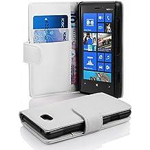 Cadorabo - Funda Nokia Lumia 820 Book Style de Cuero Sintético en Diseño Libro - Etui Case Cover Carcasa Caja Protección con Tarjetero en BLANCO-MAGNESIO