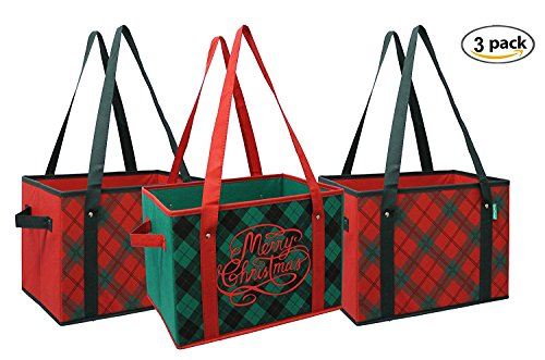 Earthwise-Reusable-Grocery-Bag-Box-Shopping-HOLIDAY-Xmas-Christmas-Plaid-Design-Deluxe-COLLAPSIBLE-Gift-Basket-Bag-w-Reinforced-Fold-Down-Bottom-Set-of-3