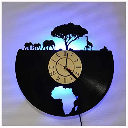 ZhangXF Éléphant d'Afrique Disque Vinyle Horloge Murale, LED Lumineux 12 Pouce Rétro Disque Vinyle Horloge Cadeau Décoration Sept Couleurs