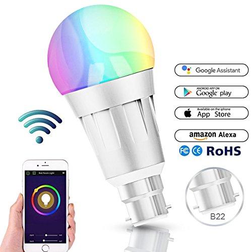 Smart Alexa Lampen, Wifi LED Alexa Glühbirne, RGB Dimmbar Hue Color Ambiance E27 Smart Birne Kompatibel Mit Amazon Alexa, Echo Und Google Home, Steuerbar Via App, 60W äquivalent, 16 Millionen Farben