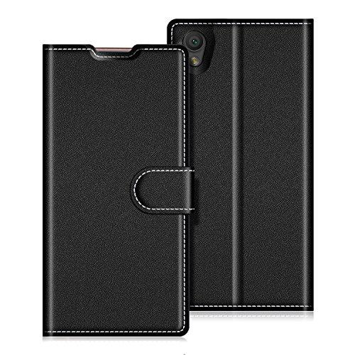 Preisvergleich Produktbild Coodio Sony Xperia L1 Hülle Leder Lederhülle Ledertasche Wallet Handyhülle Tasche Schutzhülle mit Magnetverschluss / Kartenfächer für Sony Xperia L1, Schwarz