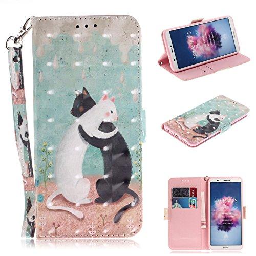 Nadoli Lederhülle für Huawei P Smart,3D Standfunktion Pu Leder Flip Brieftasche Handyhülle Schwarz Weiß Katze Wallet Tasche Etui für Huawei P Smart,Schwarz Weiß Katze