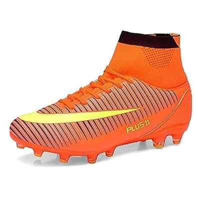 Aleader Men's Football Training Shoes Outdoor Soccer Boots Orange 9 UK