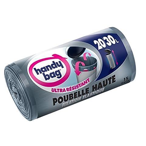Handy Bag 2 Rouleaux de 15 Sacs Poubelle 30 L, pour Poubelles Hautes, Fixation Élastique, Ultra Résistant, Anti-Fuites, 47 x 78 cm,Gris Foncé,